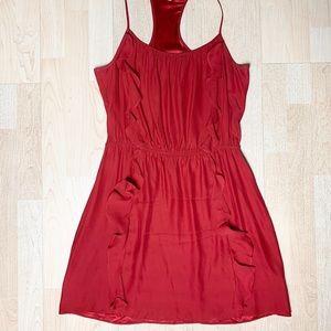 Parker Silk Ruffle Racerback Mini Dress L